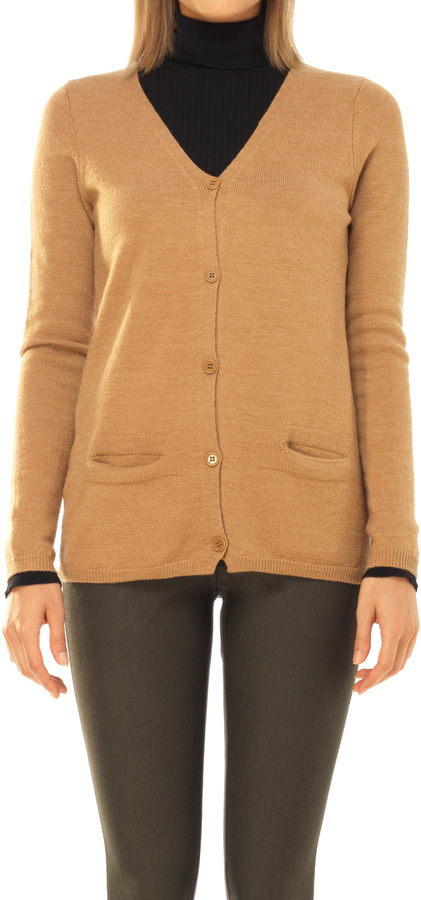 Leon Max Wool Crepe Knitted Cardigan